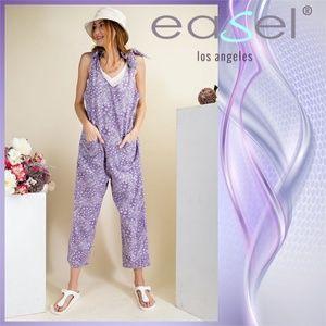 "Easel ""Endless Summer"" Overalls W/Shoulder Ties"